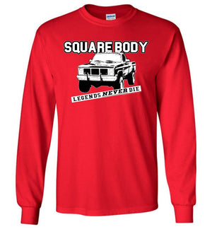 Squarebody Square Body Legends Never Die Long Sleeve T-Shirt - Aggressive Thread Diesel Truck T-Shirts