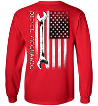 Diesel Mechanic American Flag Long Sleeve T-Shirt