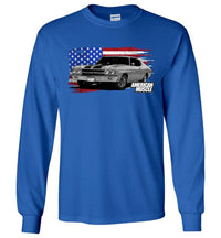 1970 Chevelle With American Flag- Long Sleeve T-Shirt