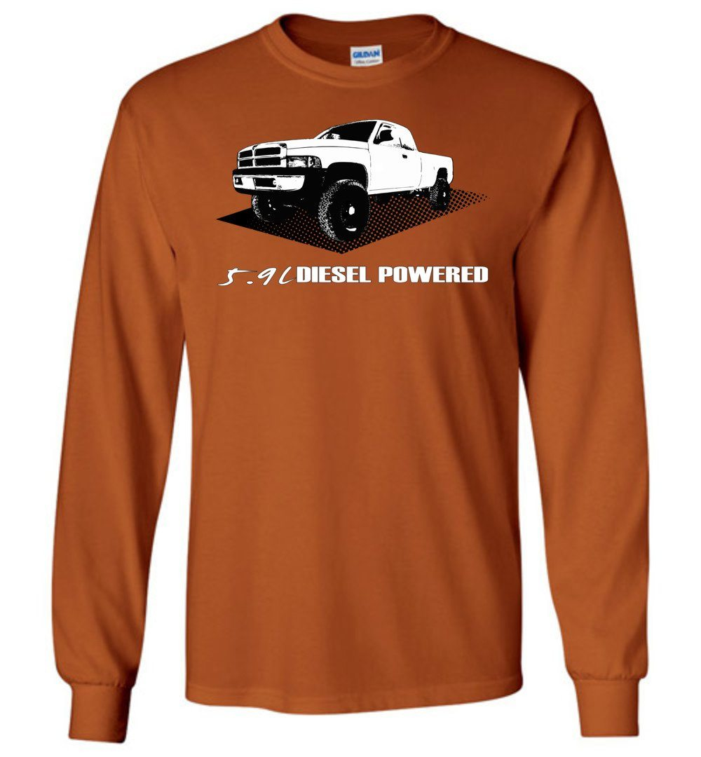 Cummins 12 Valve or 24 valve  5.9l Diesel powered 2nd gen Dodge Ram orange long sleeve apparel t-shirt