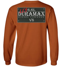 Orange Duramax LLY Diesel Truck Shirt from Aggressive Thread Truck Apparel