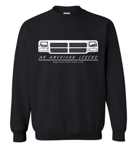 First Gen Dodge Ram Grille Crew Neck Sweatshirt - Aggressive Thread Diesel Truck T-Shirts