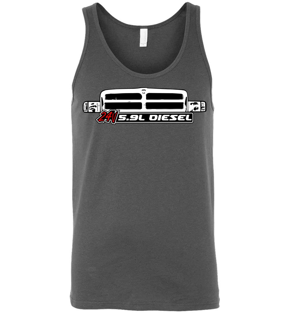 24v 5.9 Diesel Tank Top With 2nd Gen Grille T-Shirt - Aggressive Thread Diesel Truck T-Shirts