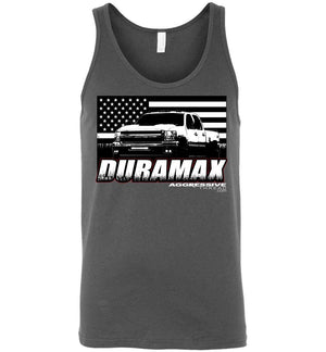 15 Duramax With American Flag Tank Top - Aggressive Thread Diesel Truck T-Shirts
