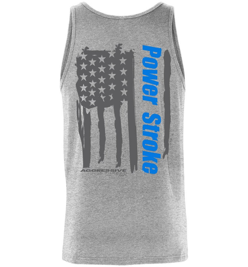 Powerstroke Tank Top With Painted Power Stroke American Flag - Aggressive Thread Diesel Truck T-Shirts
