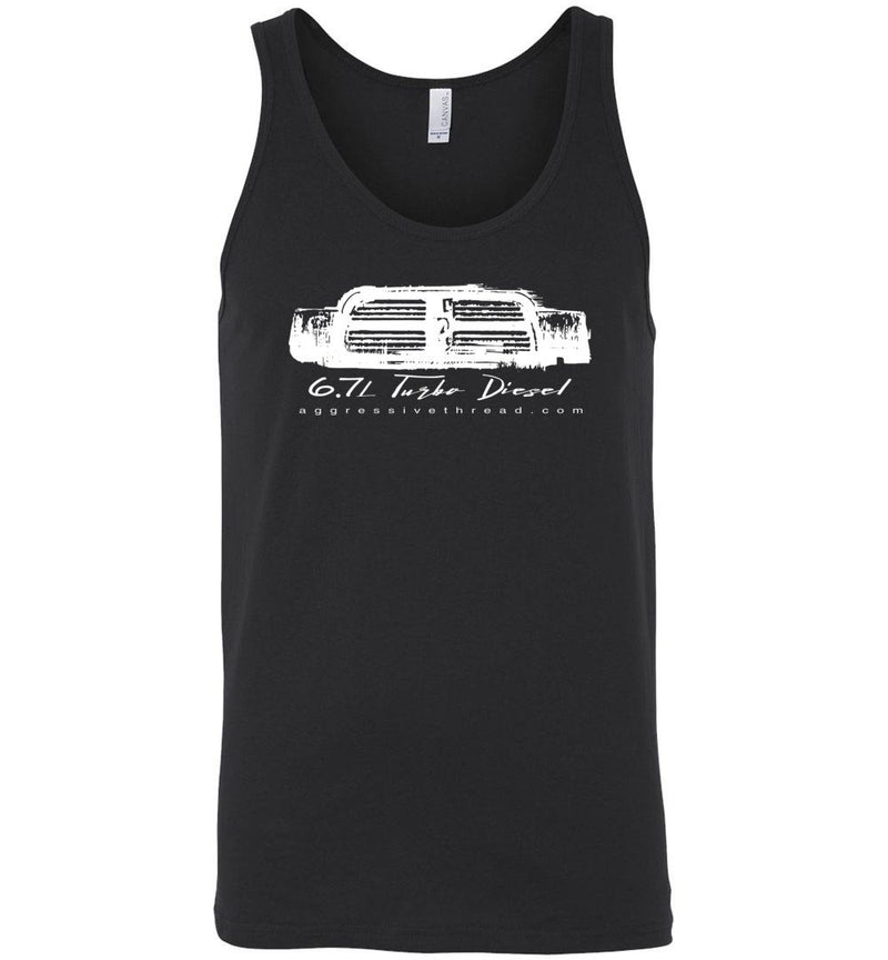 6.7 Turbo Diesel With 4th Gen Grille Tank Top - Aggressive Thread Diesel Truck T-Shirts