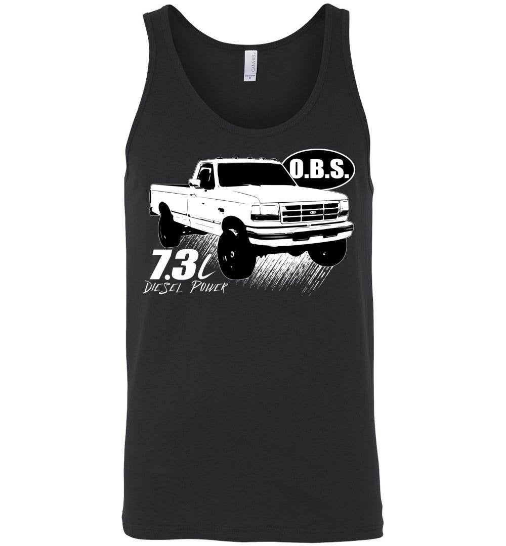 OBS Super Duty Single Cab 7.3 Diesel Powerstroke Tank Top - Aggressive Thread Diesel Truck T-Shirts
