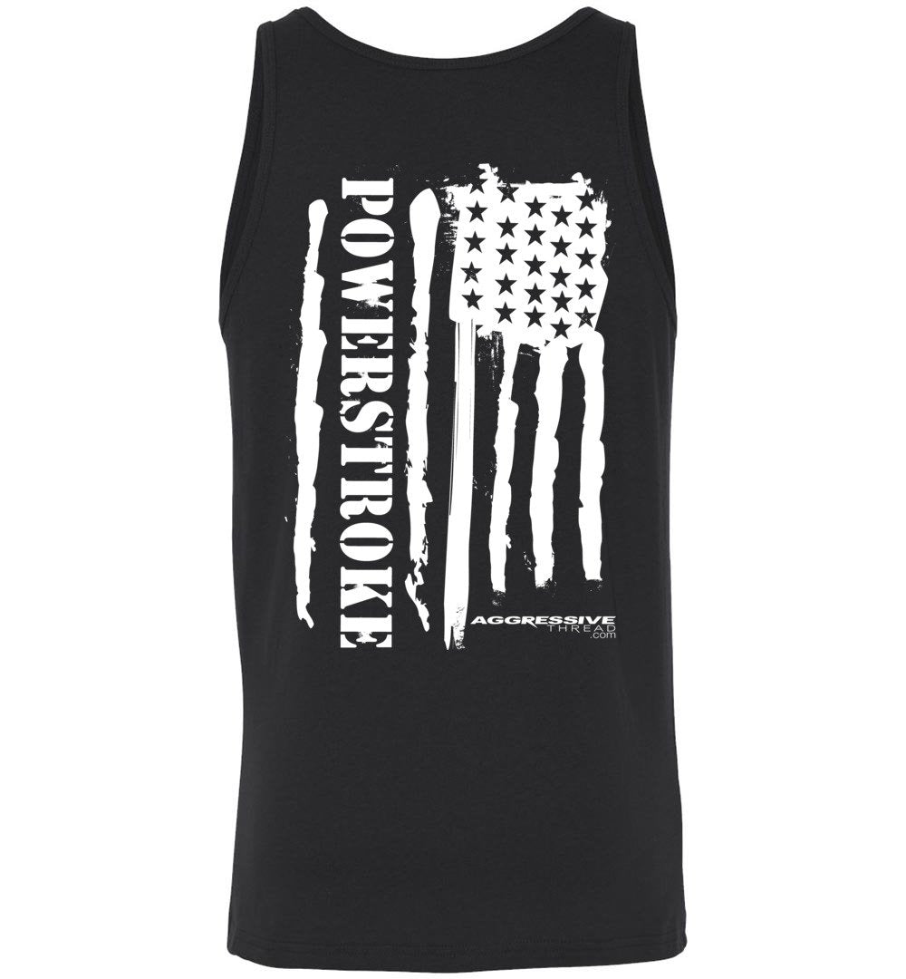 Powerstroke White American Flag Power Stroke Tank Top - Aggressive Thread Diesel Truck T-Shirts