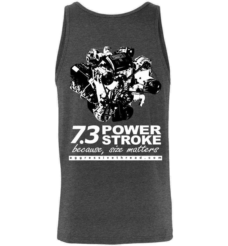 Powerstroke 7.3 Power Stroke Size Matters Tank Top - Aggressive Thread Diesel Truck T-Shirts