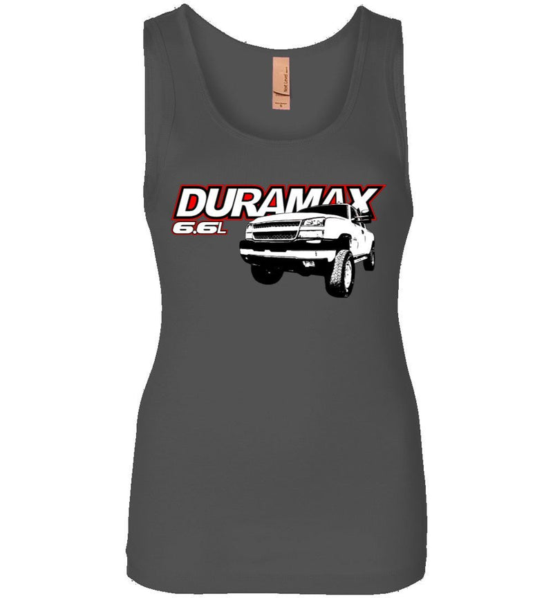 Duramax 6.6l With 06 Silverado Womens Tank Top - Aggressive Thread Diesel Truck T-Shirts