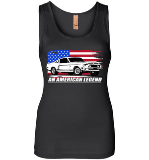 1968 Mustang GT500 Womens Tank Top With American Flag - Aggressive Thread