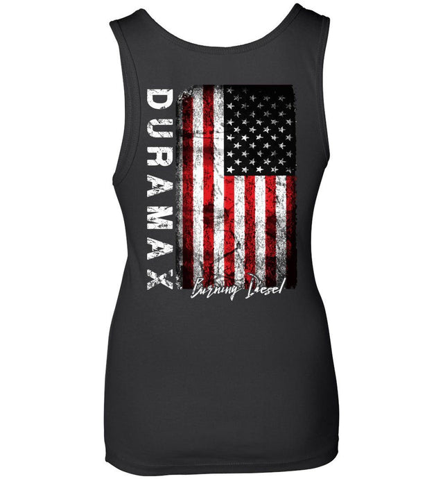 Duramax Distressed Flag Burning Diesel Womens Tank Top - Aggressive Thread Diesel Truck T-Shirts