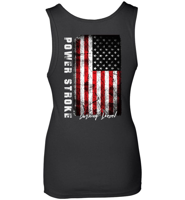 Powerstroke Power Stroke USA Burnin Diesel Womens Tank Top - Aggressive Thread Diesel Truck T-Shirts