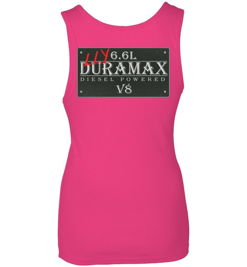 Pink LLY Duramax Diesel Truck Womens Tank Top From Aggressive Thread Truck Apparel