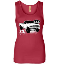 OBS Super Duty Single Cab 7.3 Diesel Powerstroke Womens Tank Top - Aggressive Thread Diesel Truck T-Shirts