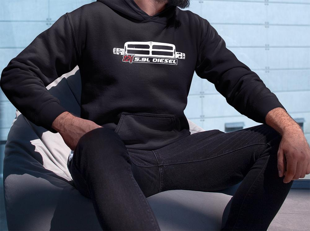 12v 5.9 Diesel With Second Gen Dodge Ram Grille Hoodie Sweatshirt