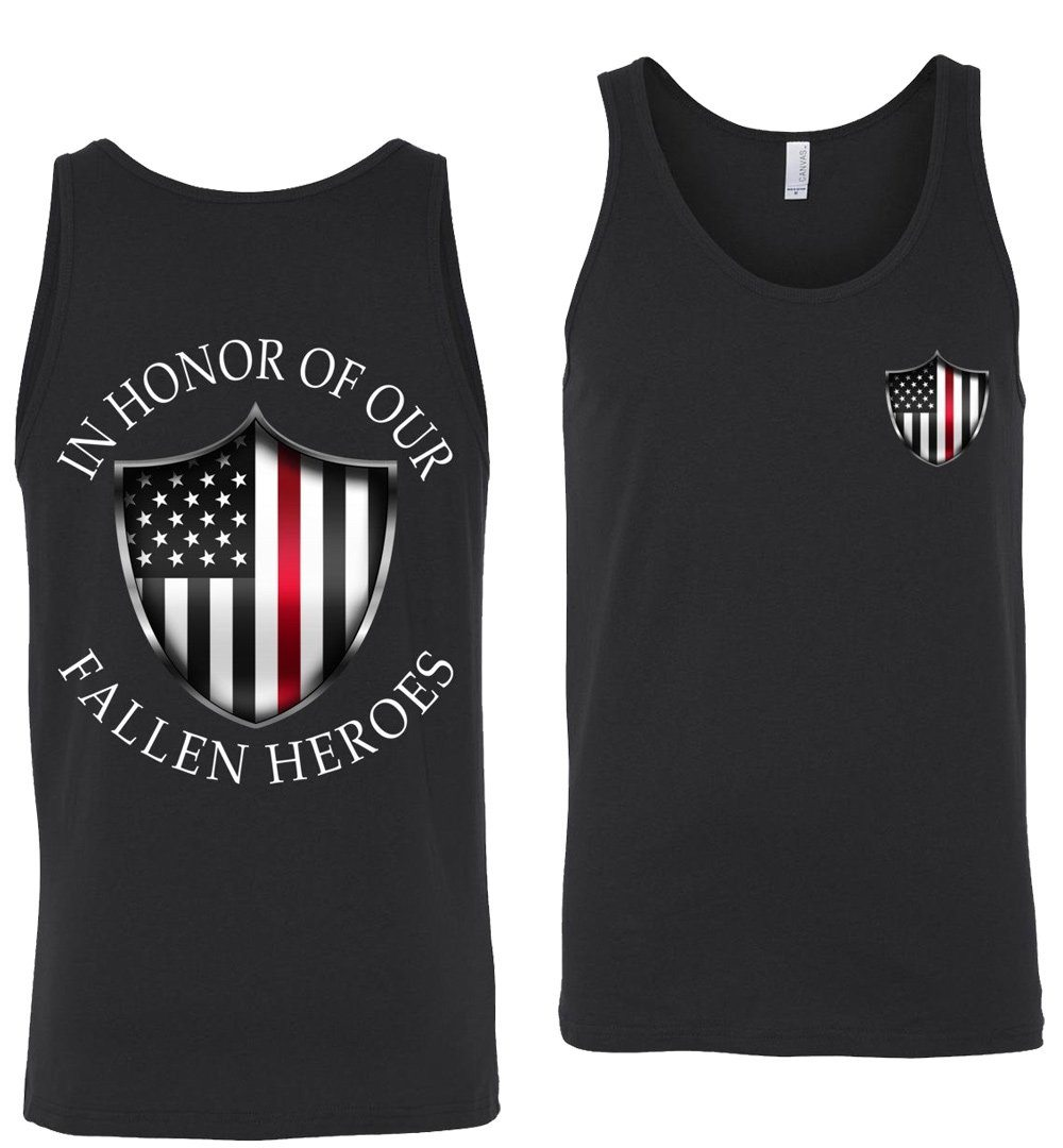 In Honor Of Our Fallen Fireman Tank Top - Thin Red Line American Flag