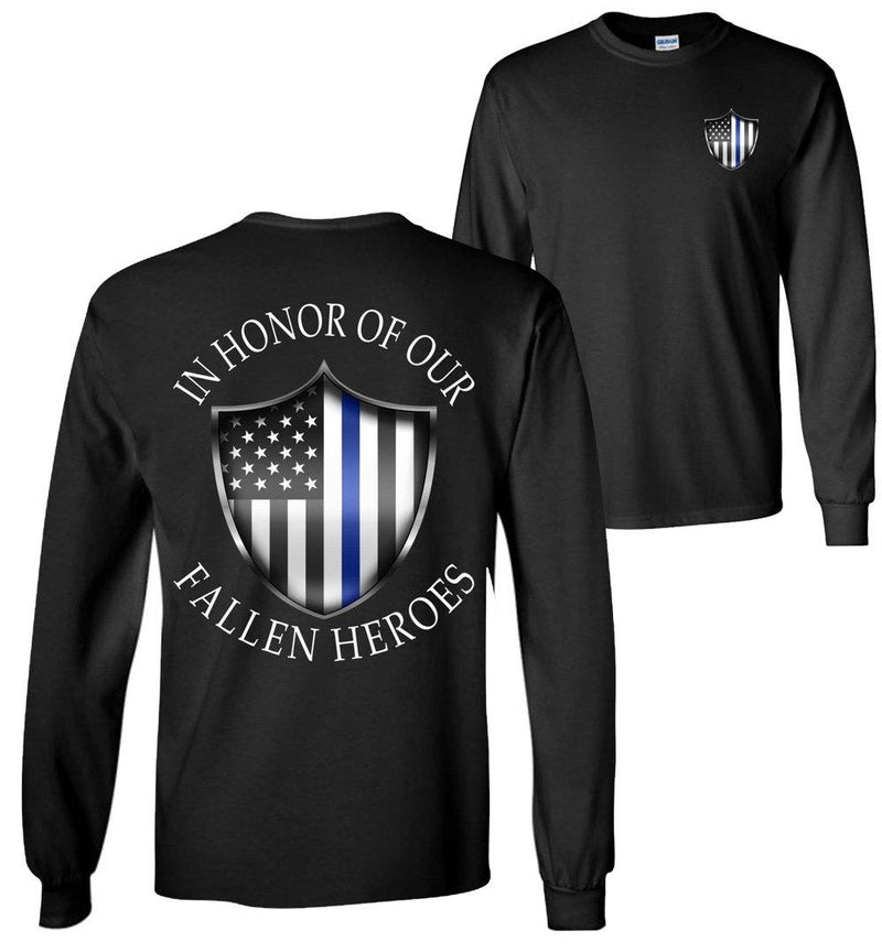In Honor Of Our Fallen Police Long Sleeve T-Shirt - American Flag with Thin Blue Line