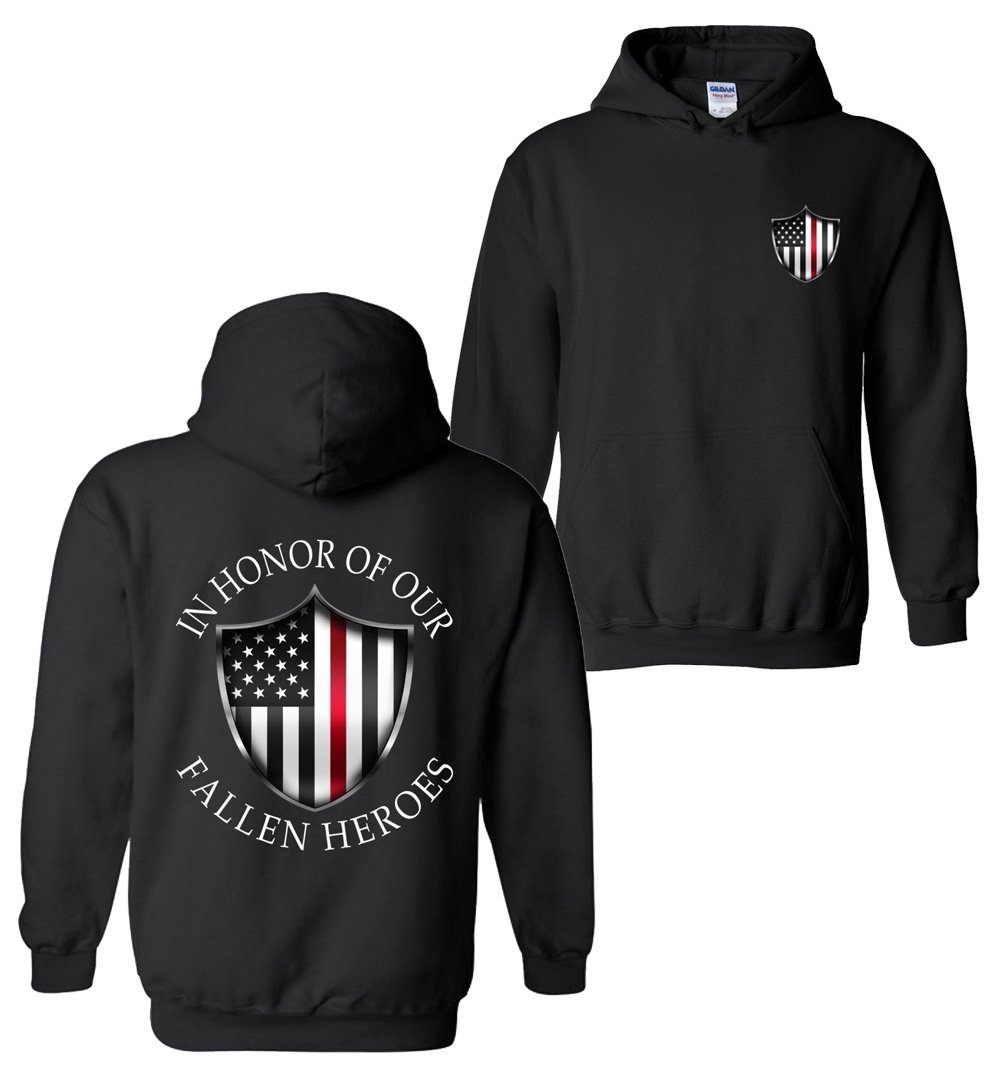 Gift for Fireman | Thin Red Line Sweatshirt | Firefighter Sweatshirt | Aggressive Thread Patriotic Apparel
