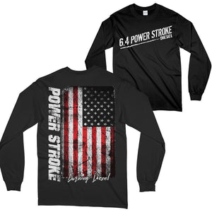 6.4 Power Stroke Powerstroke Burning Diesel Long Sleeve T-Shirt Black