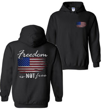 Freedom Is NOT Free | American Flag Hoodie | Aggressive Thread Patriotic Apparel