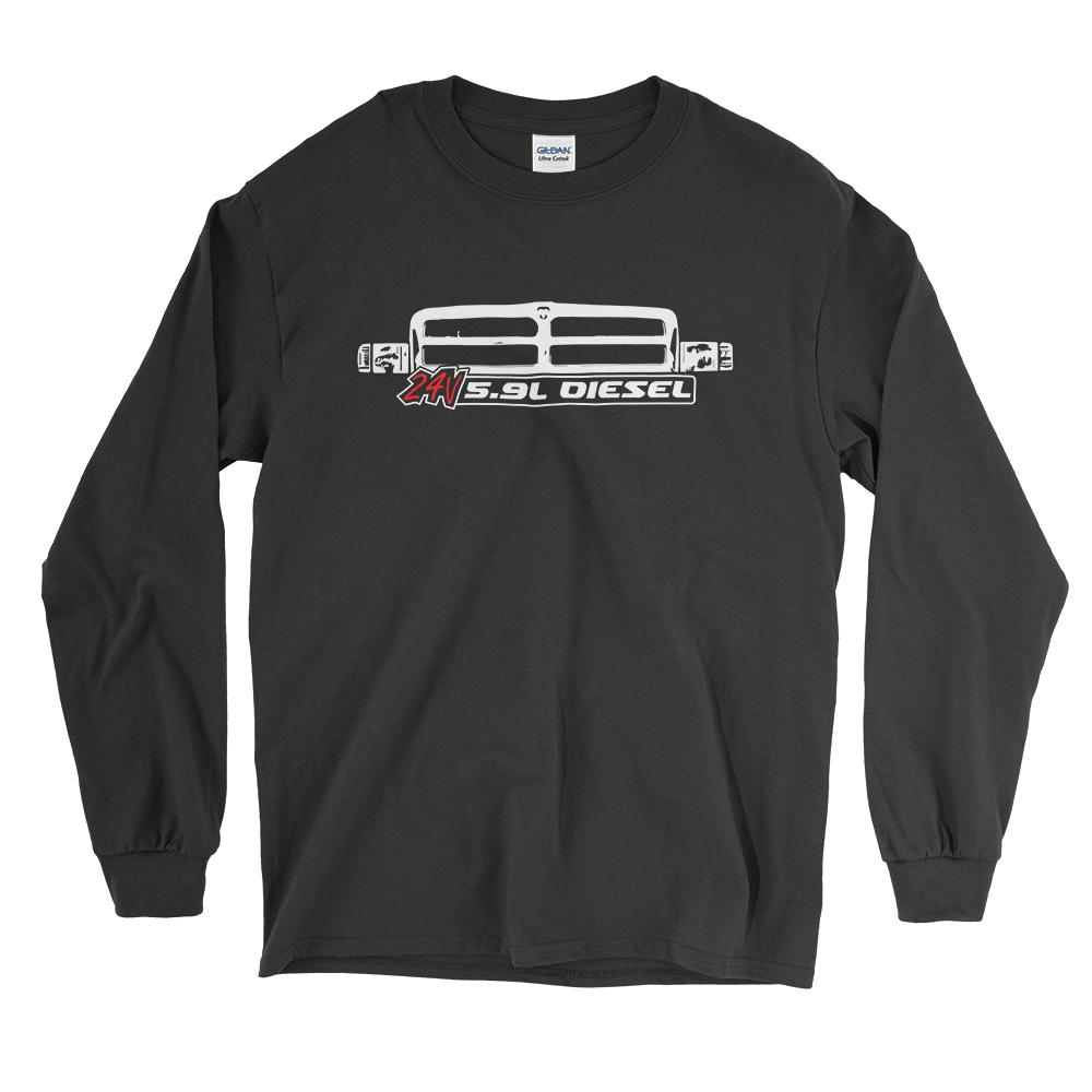 24v 5.9 Diesel Long Sleeve T-Shirt With 2nd Gen Grille T-Shirt - Aggressive Thread Diesel Truck T-Shirts