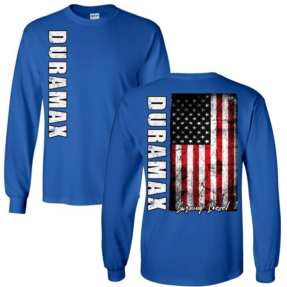 Duramax T-Shirt | Duramax American Flag Shirt | Aggressive Thread Diesel Truck Apparel