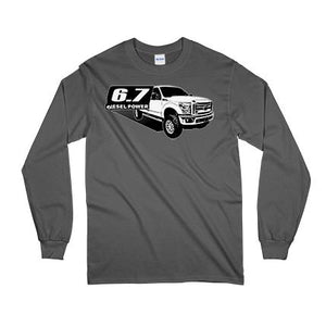 Power Stroke 6.7 Diesel Powerstroke Long Sleeve T-Shirt From Aggressive Thread Truck Apparel