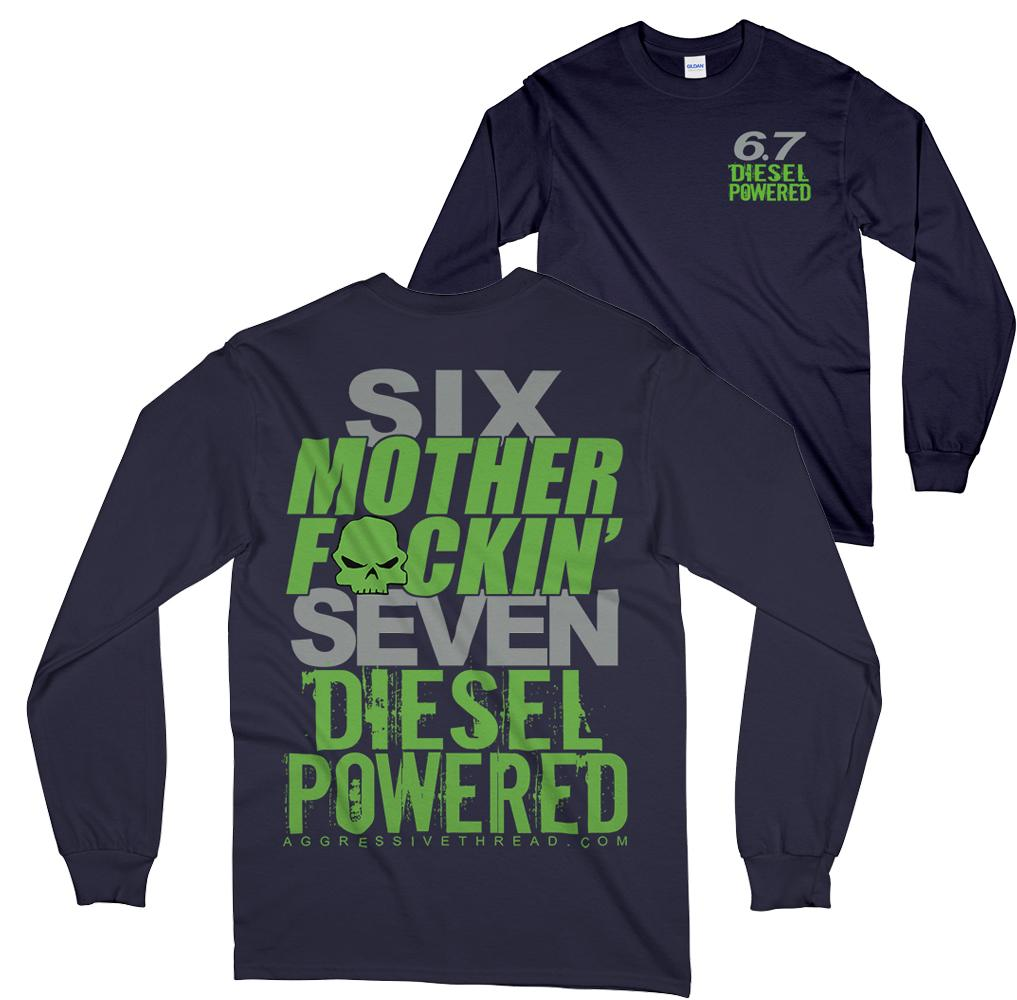 Power stroke Ram or Powerstroke 6.7 Long Sleeve T-Shirt Navy