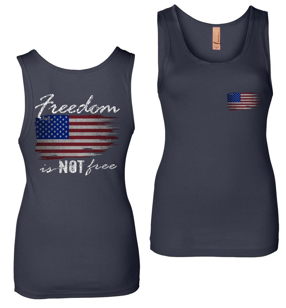 Freedom Is NOT Free Patriotic American Flag Womens Tank Top