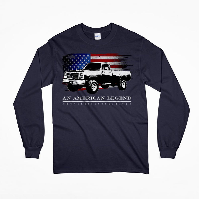 1981-1993 First Gen Dodge Ram Truck Long Sleeve T-Shirt-Navy