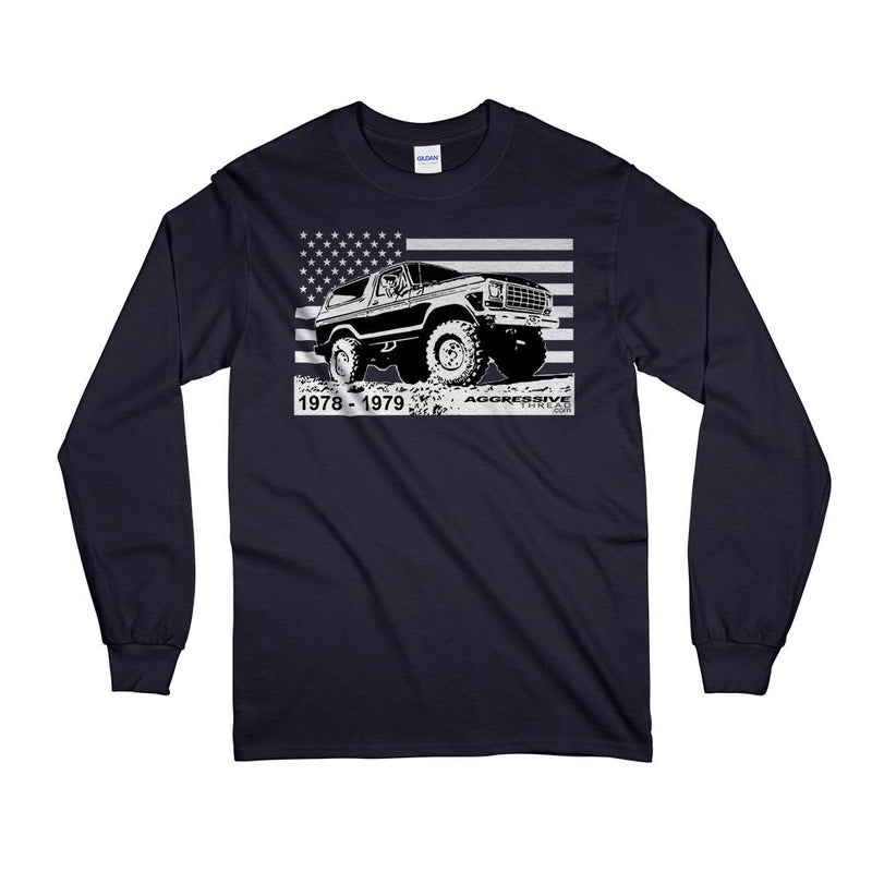 78-79 Ford Bronco 4X4 American Flag T-Shirt with Long Sleeves