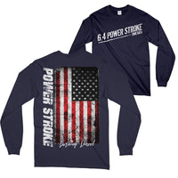 6.4 Power Stroke Powerstroke Burning Diesel Long Sleeve T-Shirt Navy