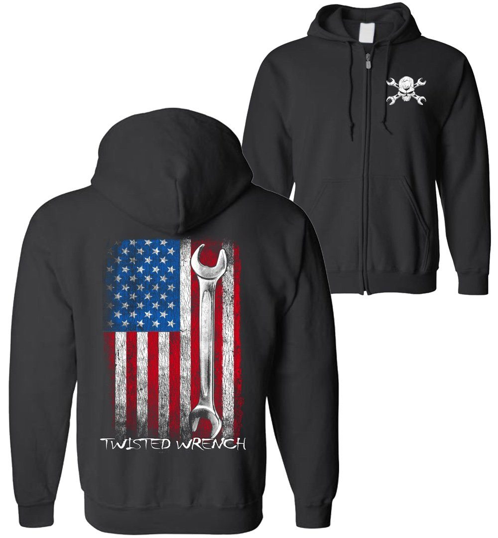 Twisted Wrench American Flag Mechanic ZIP-UP Hoodie | Diesel Mechanic