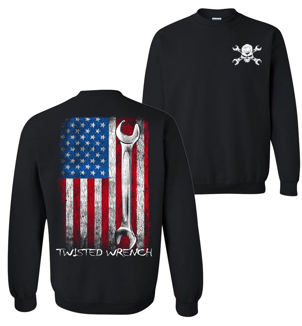 Twisted Wrench American Flag Mechanic Crew Neck Sweatshirt
