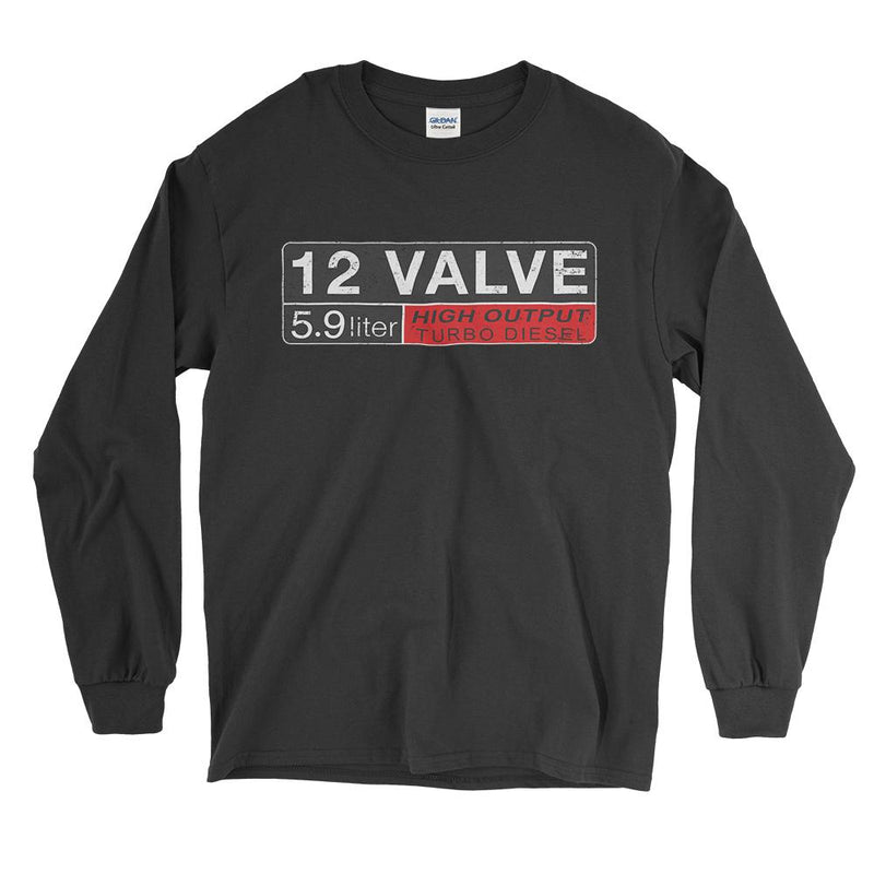 12v Dodge Ram Cummins Diesel Long Sleeve T-Shirt - Aggressive Thread Diesel Truck T-Shirts
