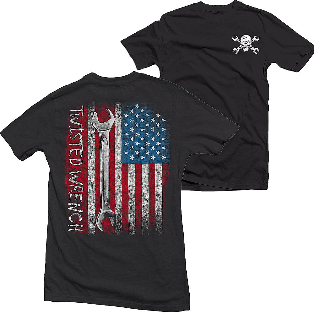 Mechanic T-Shirt With American Flag and Wrench