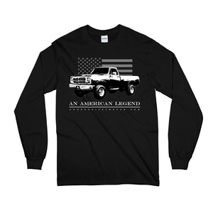 First 1st Gen Dodge Ram Cummins American Flag Long Sleeve T-Shirt