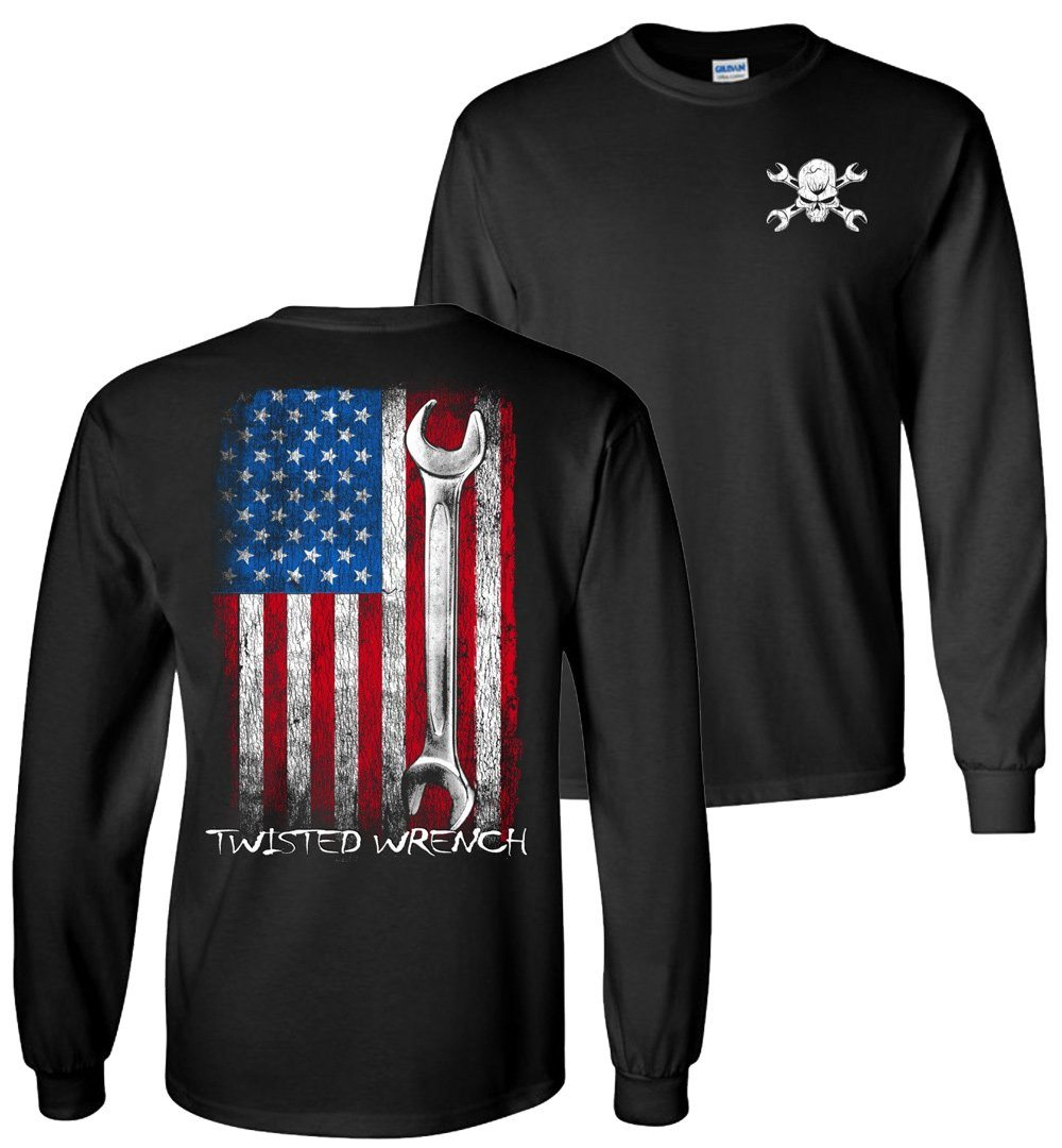 Twisted Wrench American Flag Mechanic Long Sleeve T-Shirt
