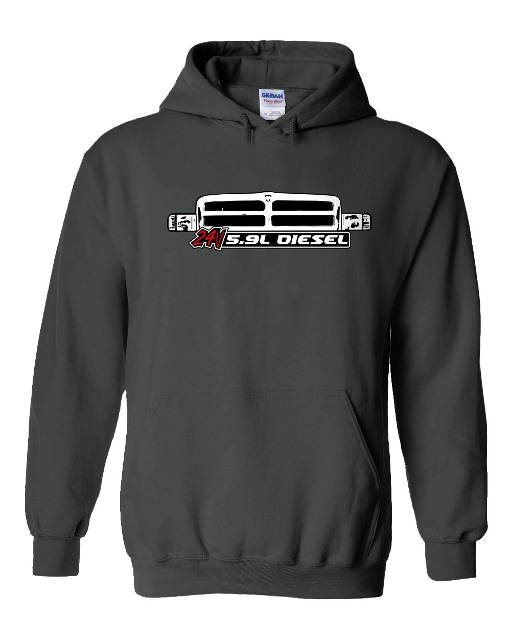 Cummins 24v 5.9 Diesel Hoodie Sweatshirt With 2nd Second Gen Grille T-Shirt - Aggressive Thread Diesel Truck T-Shirts
