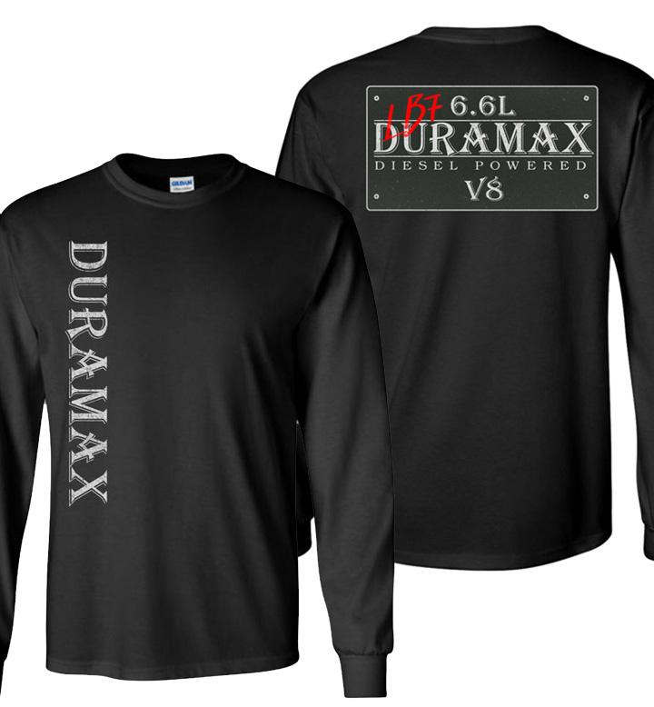 Black Duramax LB7 Diesel Truck Shirt from Aggressive Thread
