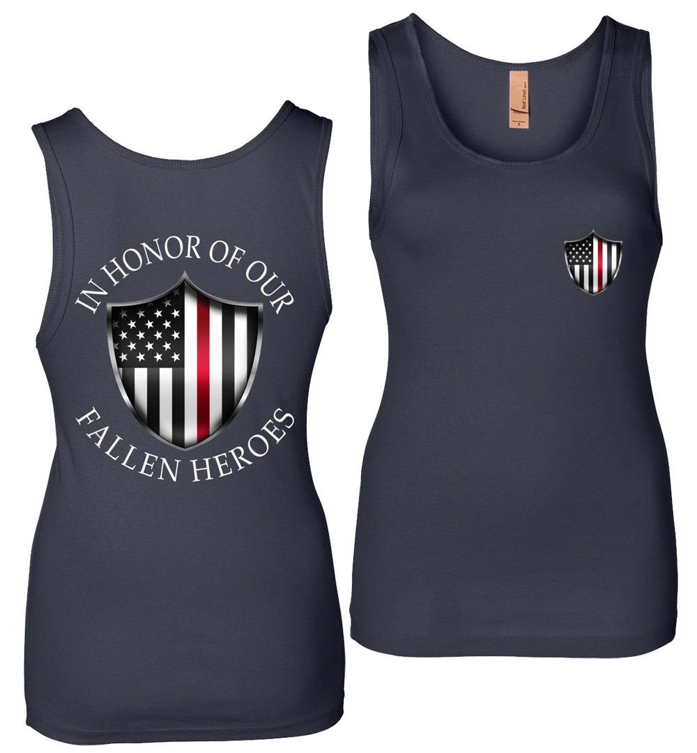 Thin Red Line Tank Top | Fireman T-Shirt | Aggressive Thread Patriotic Apparel