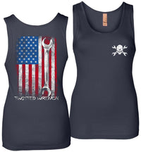 Twisted Wrench American Flag Mechanic Womens Tank