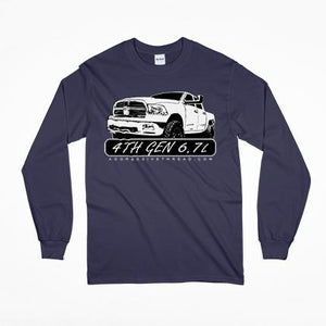 4th Gen Cummins 6.7 Dodge Ram Navy Long Sleeve T-Shirt