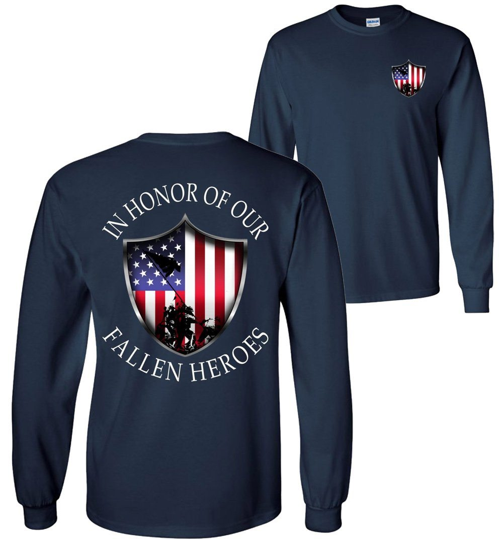 In Honor Of Our Fallen Military Long Sleeve T-Shirt | Patriotic American Flag