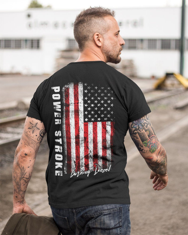 Powerstroke Powerstroke Power Stroke USA Burning Diesel Powerstroke T-shirt