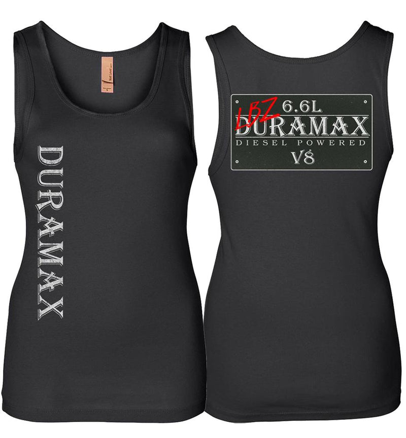 Black LBZ Duramax Diesel Truck Womens Tank Top From Aggressive Thread Truck Apparel