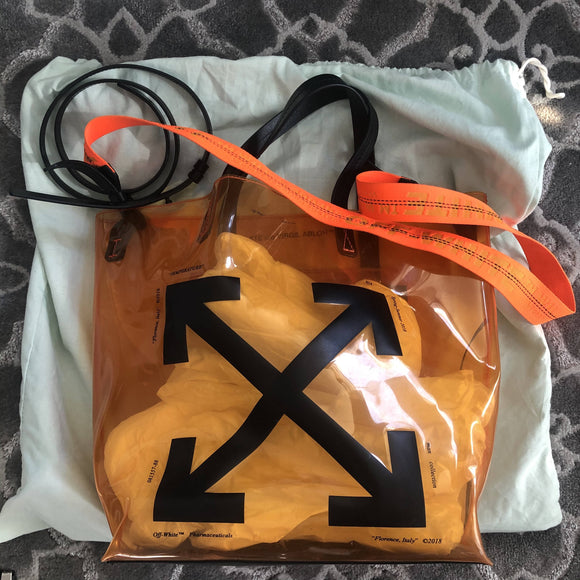 Off-white PVC tote bag