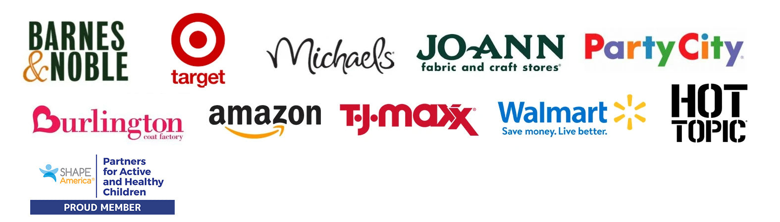 Featured in these retail locations, Barns & Noble, Amazon, Michaels, Joann Fabric and Craft stores, Party City, Burlington