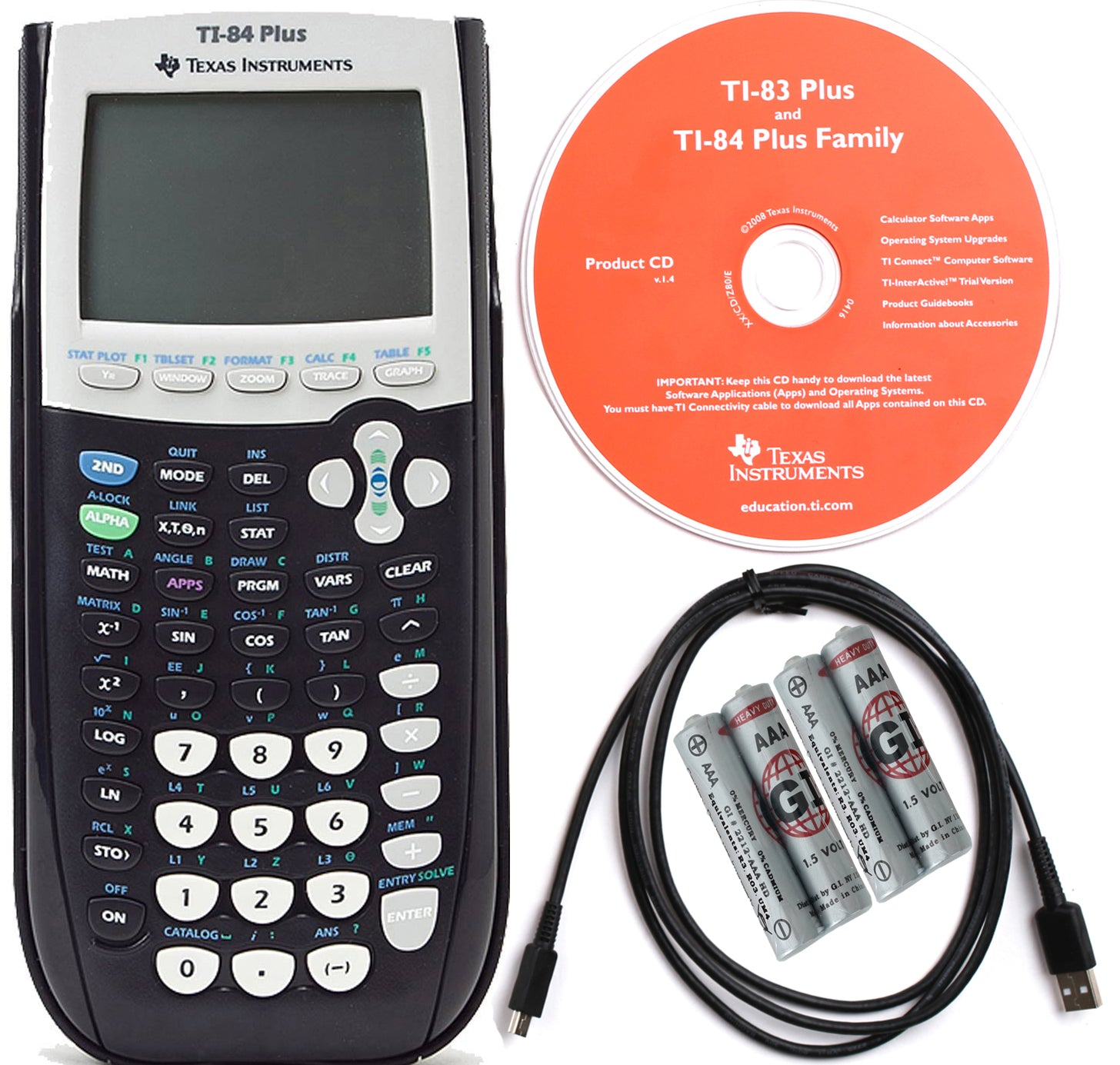 TEXAS INSTRUMENTS TI 84 PLUS GRAPHING CALCULATOR Refurbished –  1800Calculators.com